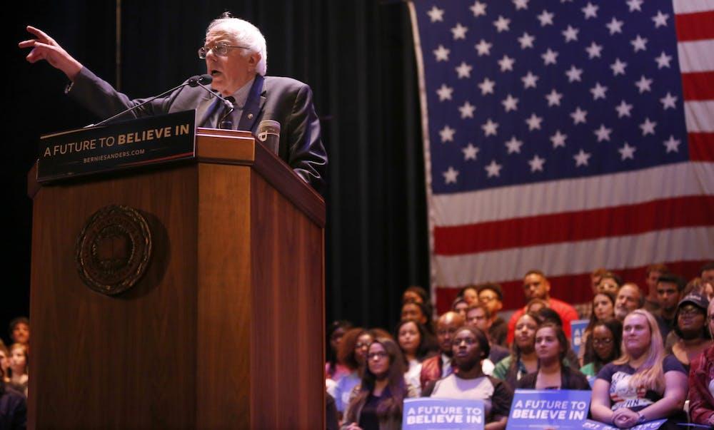 <p>Bernie Sanders speaks in front of a crowd April. 27, 2016, in the IU Auditorium. </p>