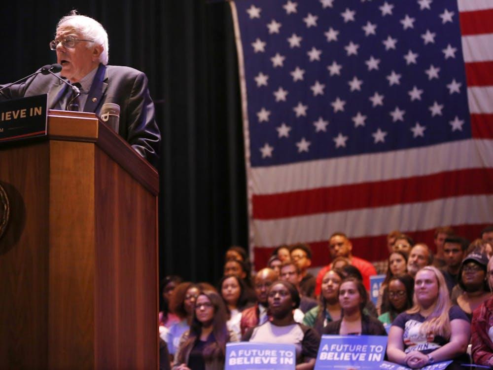 Bernie Sanders speaks in front of a crowd April. 27, 2016, in the IU Auditorium.