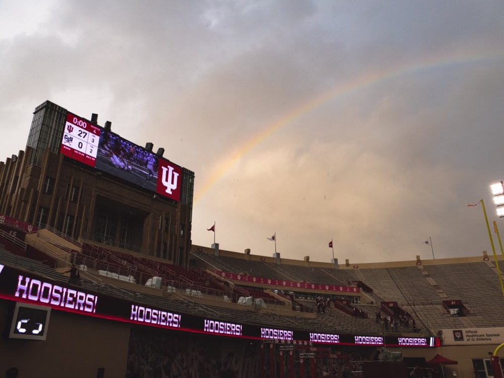 A rainbow stretches over Memorial Stadium after heavy rain during the game against Charleston Southern on Oct. 7, 2017. IU opens the season at home Saturday night against Virginia.