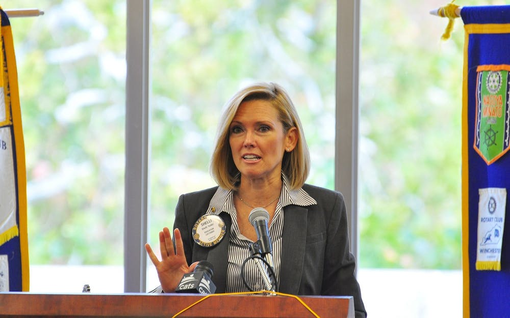 <p>Shelli Yoder gives a speech to the Bloomington Rotary Club in 2016 in the Indiana Memorial Union. </p>