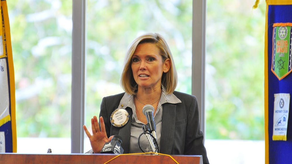 Shelli Yoder gives a speech to the Bloomington Rotary Club in 2016 in the Indiana Memorial Union.