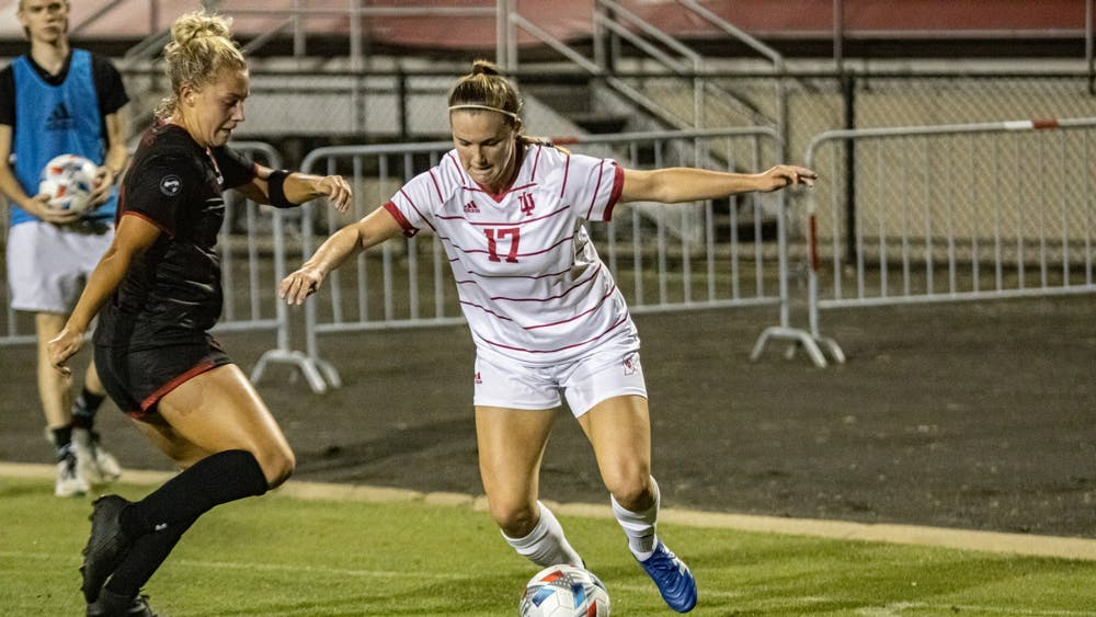 Sophomore Gabbie Rennie attempts to dribble past a defender during a soccer game against Southeast Missouri State on Sept. 5, 2021at Bill Armstrong Stadium. IU defeated Southeast Missouri State 6-0.