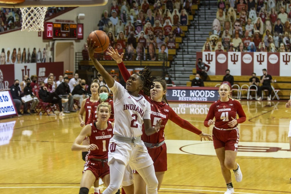 Senior guard Keyanna Warthen attempts a layup Jan. 10 in Simon Skjodt Assembly Hall. No. 19 IU defeated Wisconsin 74-49 to move to 5-1 in the Big Ten and 7-3 on the season.