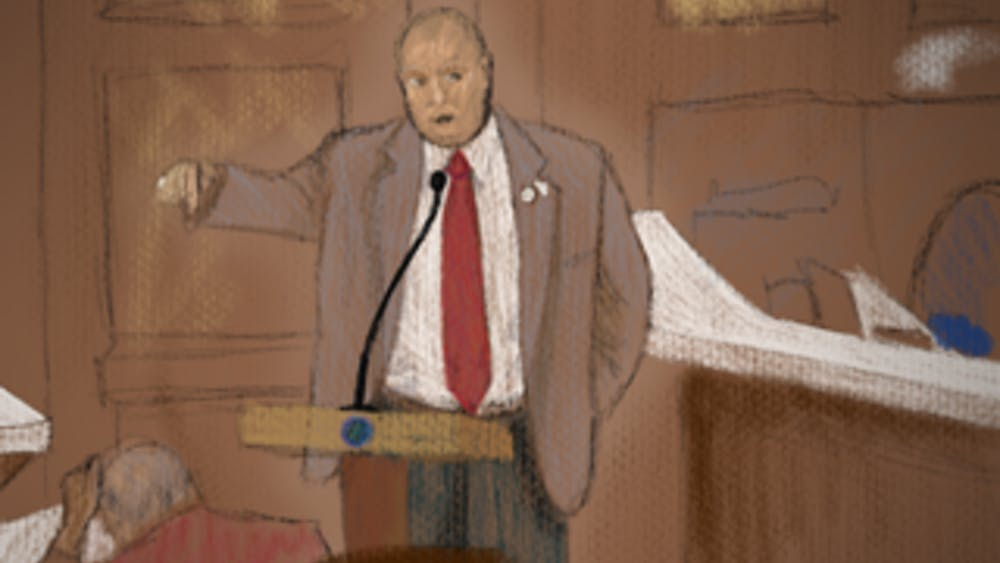 An illustration depicts Aron Bright testifying in support of House Bill 1253. The bill would allow schools to use state funds to provide firearms training to teachers, school staff and employees.