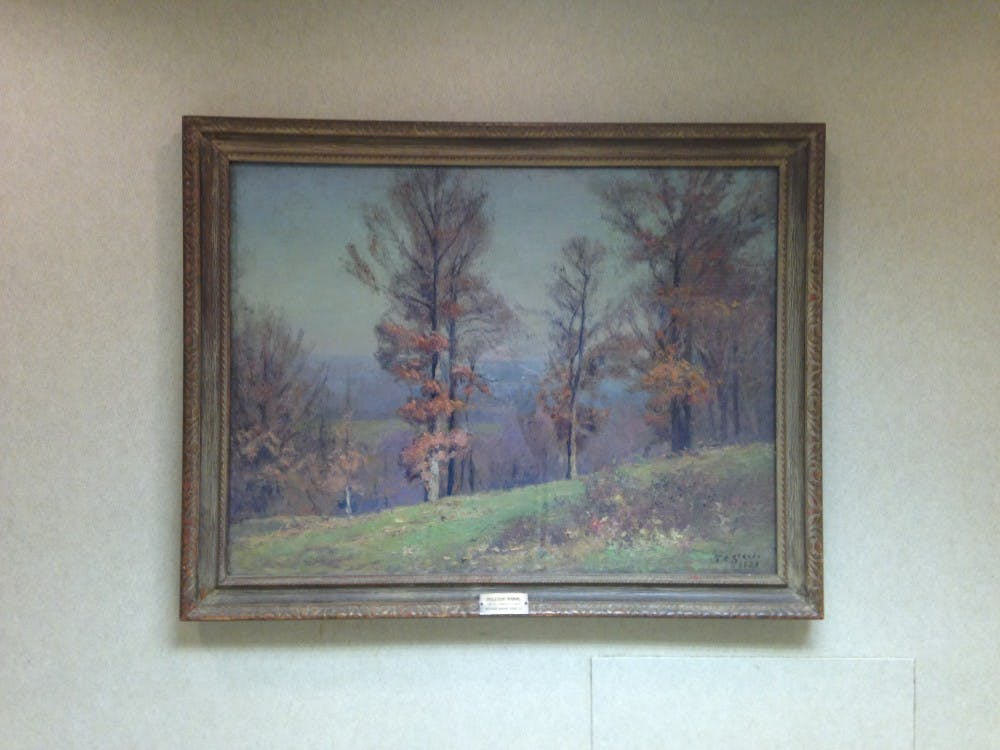 "<p>""Opulescent morning,"" by Theodore Clement Steele<strong>.</strong><strong> </strong>The painting hangs in the Indiana Memorial Union. Steele was IU's first artist in residence and a leading painter of American Impressionism.</p>"
