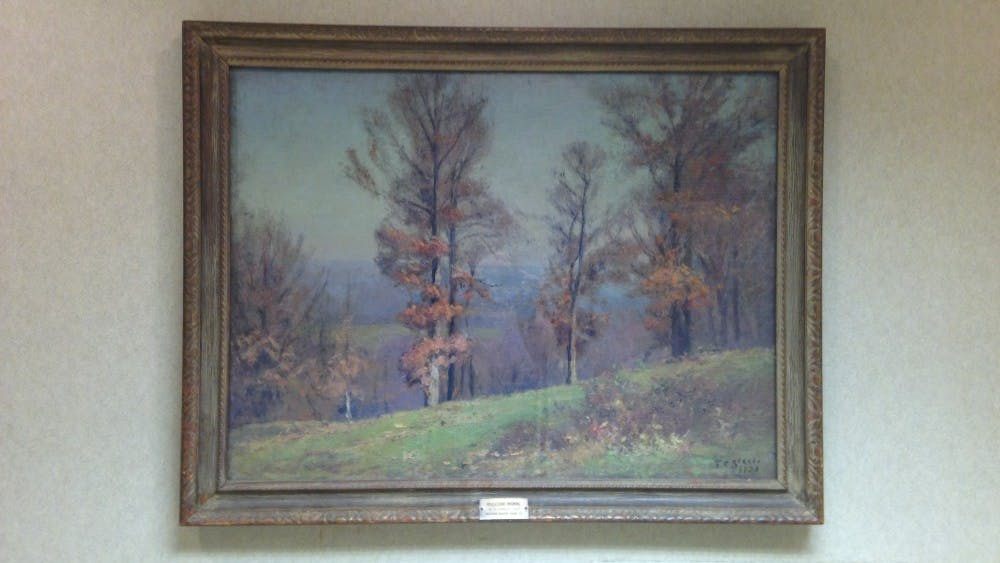 """Opulescent morning,"" by Theodore Clement Steele. The painting hangs in the Indiana Memorial Union. Steele was IU's first artist in residence and a leading painter of American Impressionism."