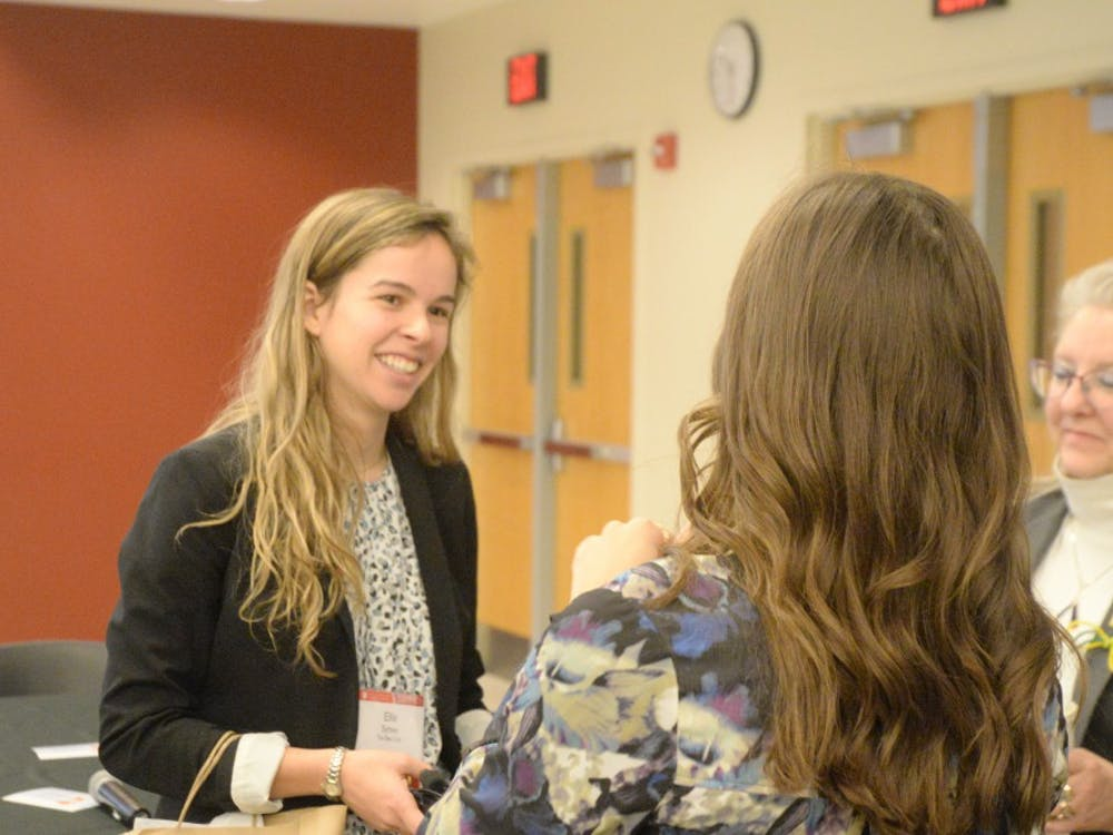 Ellie Symes, guest speaker and CEO of The Bee Corp, talks to students during the CEWiT summit in Union Street Center. The CEWit summit took place from Friday to Saturday.
