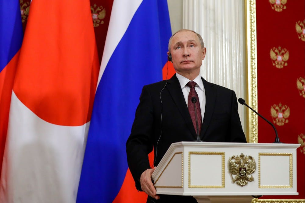<p>Russian President Vladimir Putin speaks Jan. 22 during a news conference in Moscow.&nbsp;</p>