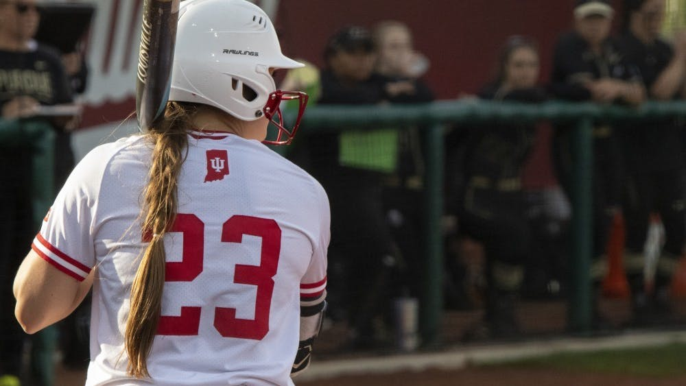 Then-junior outfielder Gabbi Jenkins steps up to the plate April 10, 2019, during the first game in a doubleheader against Purdue. IU won three of its four games Feb. 21-23 during the Fairfield Crabtree Invitational.