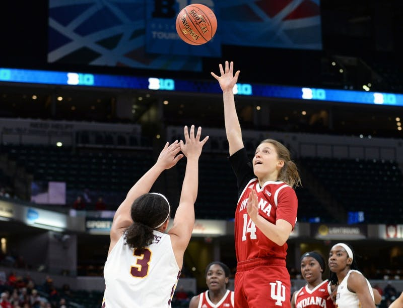 Junior guard Ali Patberg shoots the ball March 7 during IU's second round Big Ten Tournament game against Minnesota in Bankers Life Fieldhouse. Patberg scored a team-high 20 points in IU's 66-58 win over Minnesota.