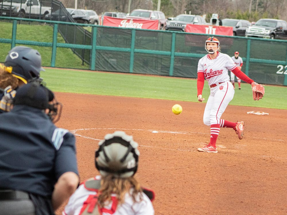 Senior pitcher Emily Goodin pitches Friday at Andy Mohr Field. The Hoosiers will play a four-game series against Iowa this weekend in Iowa City, Iowa.