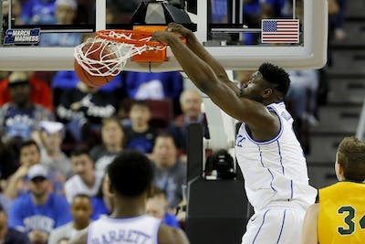 Duke's Zion Williamson dunks against North Dakota State University in the first half during the first round of the NCAA Tournament on March 22 at Colonial Life Arena in Columbia, South Carolina.
