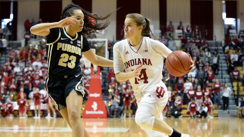 Junior guard Ali Patberg drives to the basket during the March 3 game against Purdue in Simon Skjodt Assembly Hall. Patberg scored a team-high 18 points in IU's 73-51 win over Purdue.