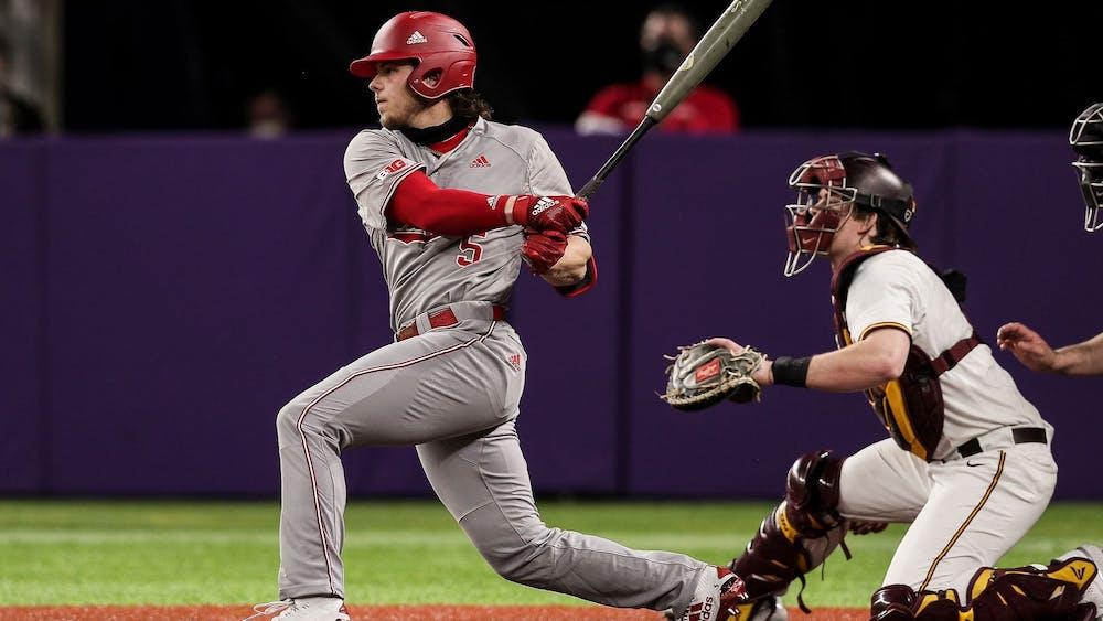 Freshman infielder Paul Toetz swings the bat Sunday at the U.S. Bank Stadium in Minneapolis. The Hoosiers beat the Minnesota Gophers 8-1 Sunday.