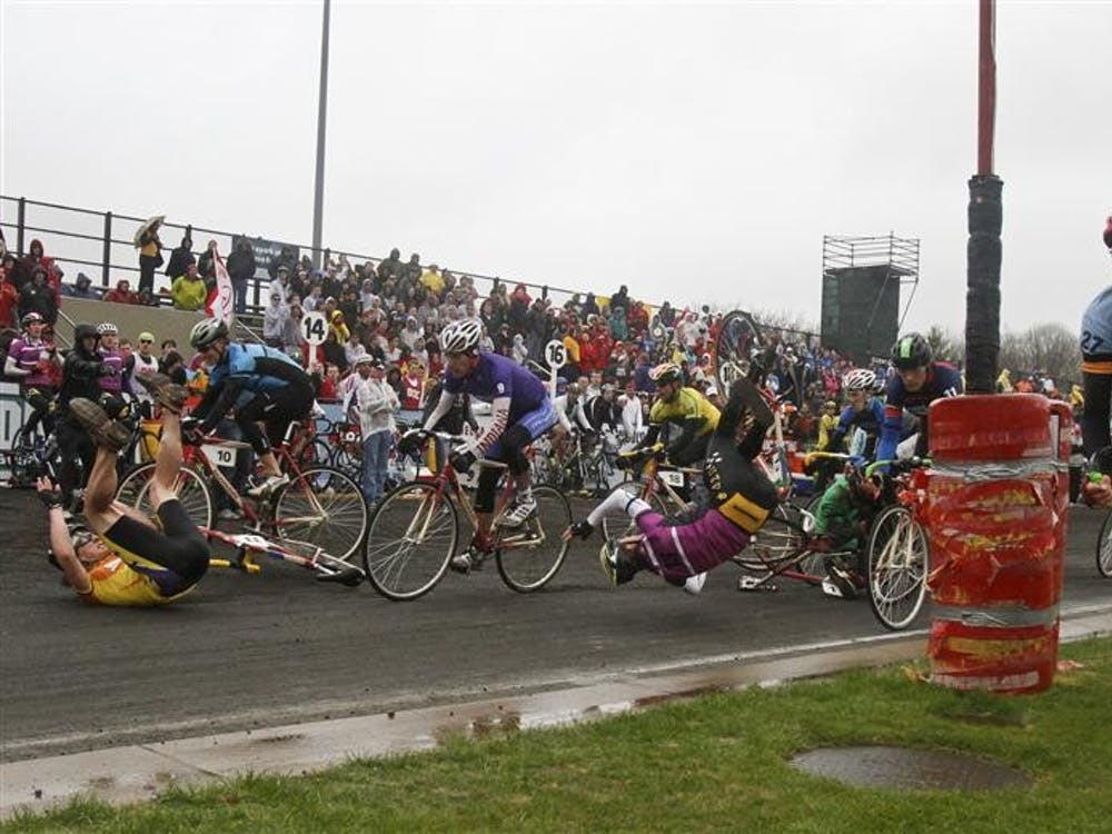 Cyclists crash during the 2011 Men's Little 500 bicycle race April 16, 2011, at Bill Armstrong Stadium.
