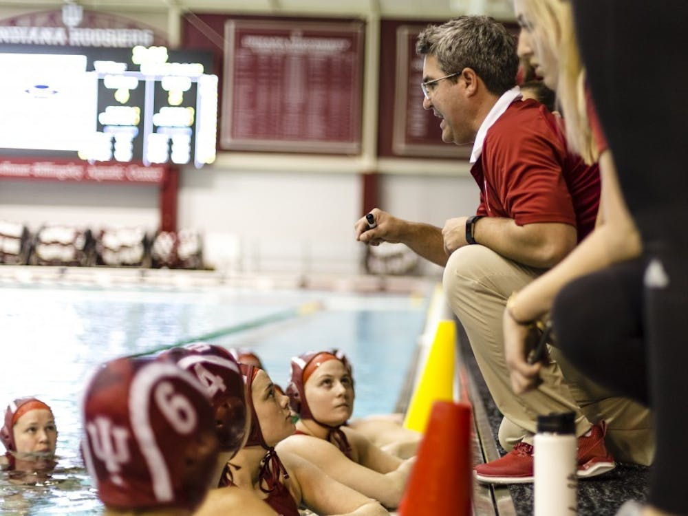 Head Coach Ryan Castle rallies players during a game in the 2018 season. IU fell to No. 1 University of Southern California 19-1 on Saturday and 12-6 against No. 7 University of California, Irvine on Sunday.