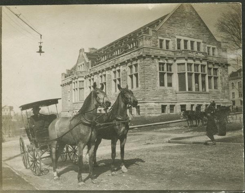 """<p>Franklin Hall is seen in a photo taken in 1907 just before construction on the building was completed. IU visiting geography professor John Baeten recently published an interactive <a href=""""https://reconstructingbloomington.iu.edu/story-map"""" target="""""""">map</a> of Bloomington from the early 1900s as part of his """"Reconstructing Bloomington"""" project.</p>"""
