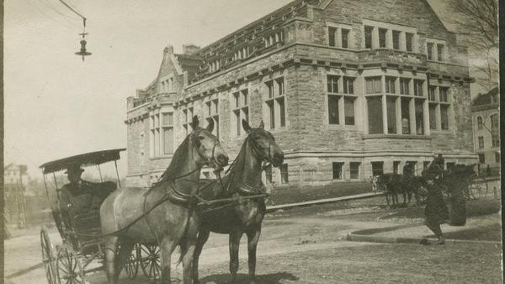 """Franklin Hall is seen in a photo taken in 1907 just before construction on the building was completed. IU visiting geography professor John Baeten recently published an interactive map of Bloomington from the early 1900s as part of his """"Reconstructing Bloomington"""" project."""