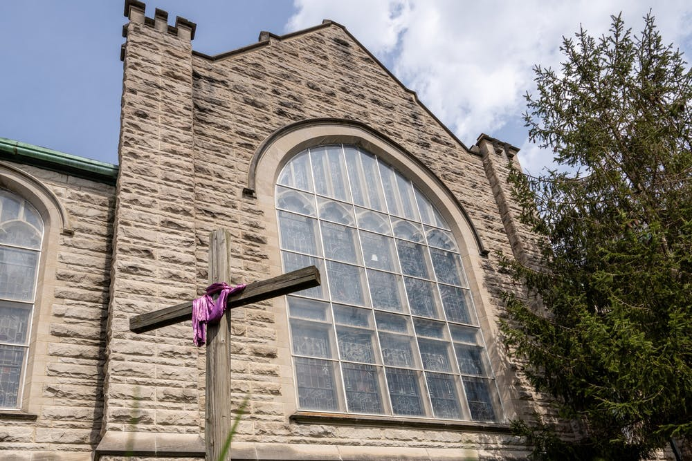 <p>A cross stands April 7, 2020, in from of First United Methodist Church in Bloomington. President Joe Biden is America&#x27;s second-ever Catholic president. </p><p><br/></p>