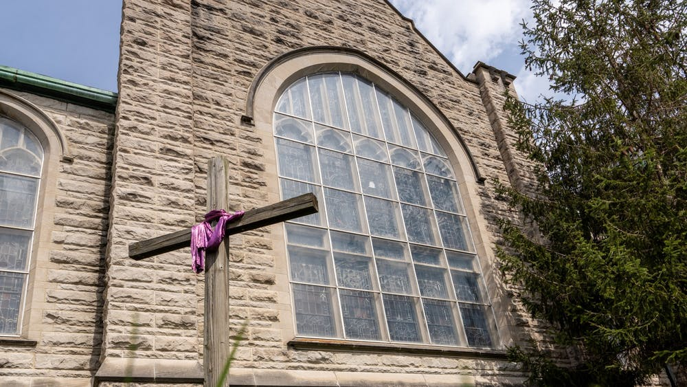 A cross stands April 7, 2020, in from of First United Methodist Church in Bloomington. President Joe Biden is America's second-ever Catholic president.