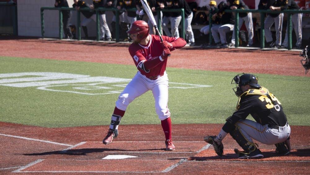 Senior utility Matt Lloyd prepares to bat March 23 at Bart Kaufman Field. IU beat Iowa, 13-1.