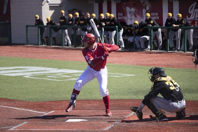 Senior utility Matt Lloyd prepares to bat March 23 at Bart Kaufman Field. IU beat Iowa, 13-1.