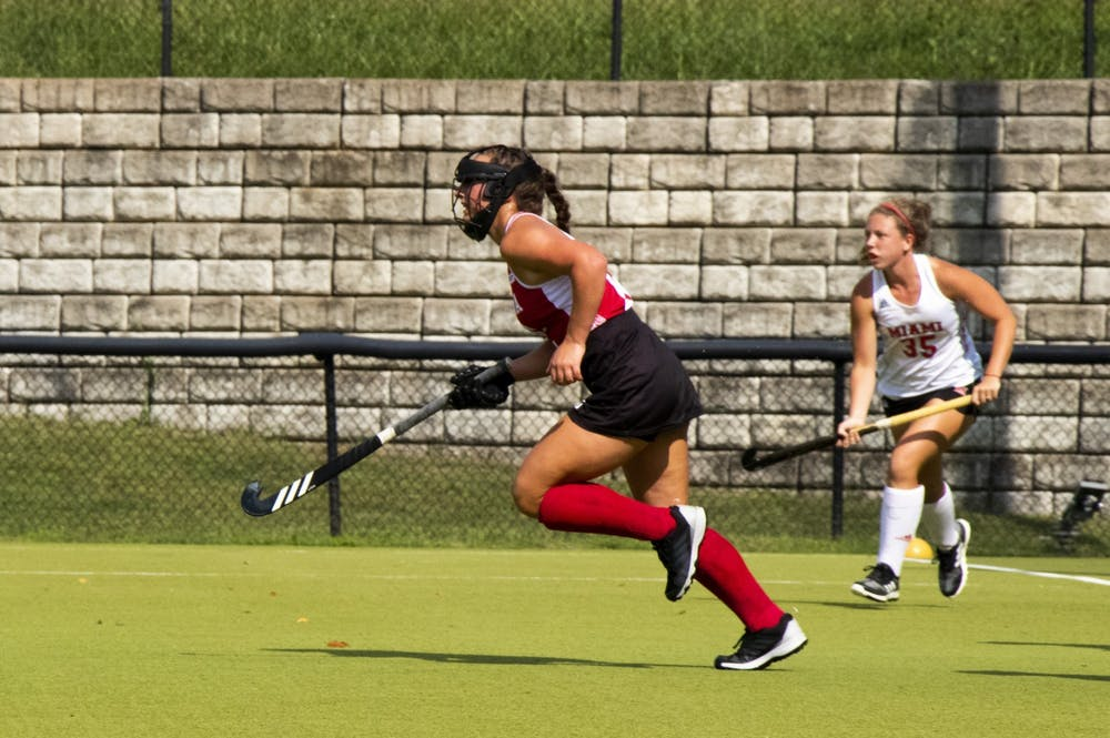 <p>Then-sophomore midfielder Mary Kate Kesler runs downfield Sept. 7, 2020, at the IU Field Hockey Complex. Indiana hosts Michigan State on Friday and No. 2 Michigan on Sunday.</p>
