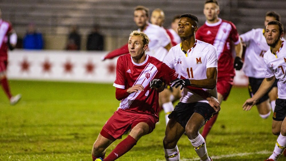 Sophomore defender A.J. Palazzolo waits for the corner kick Oct. 12 at Bill Armstrong Stadium. IU defeated Maryland, 2-1.