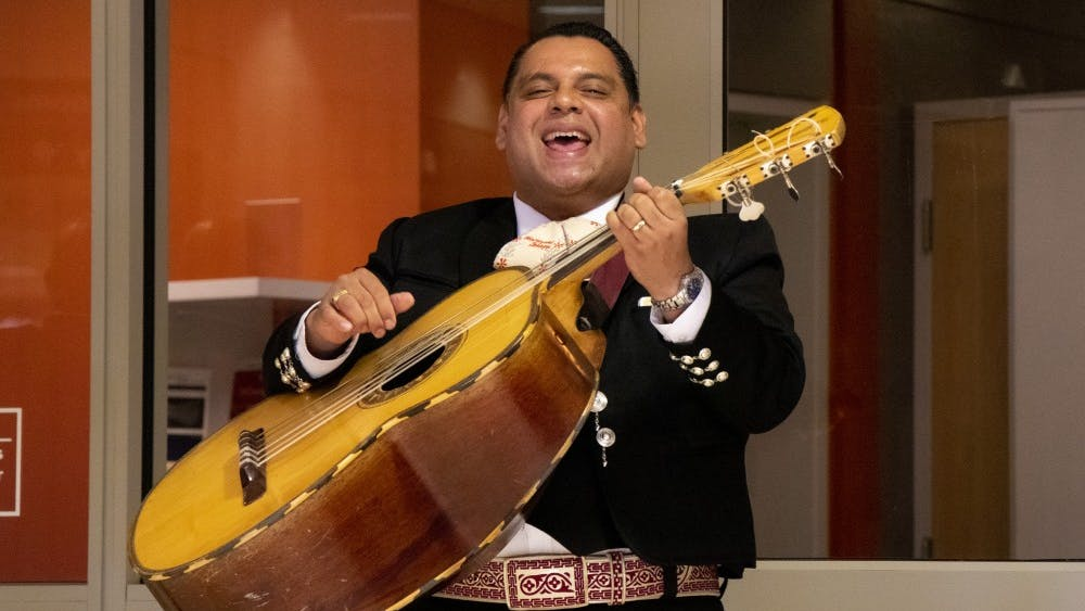 Dagoberto Eliseo Toledo Bermudez sings in the band Mariachi Zelaya on Oct. 13 at Monroe County Public Library on East Kirkwood Avenue. Mariachi Zelaya performed as part of the library's Hispanic Heritage Day event.