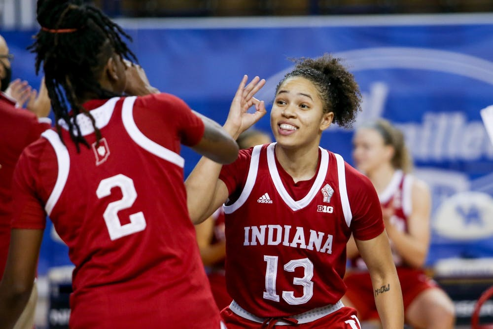 <p>Senior Jaelynn Penn celebrates a 3-pointer with sophomore Grace Waggoner Dec. 6 in Lexington, Kentucky. Penn scored a season-high 19 points in a win over Minnesota on Wednesday.<br/><br/></p>