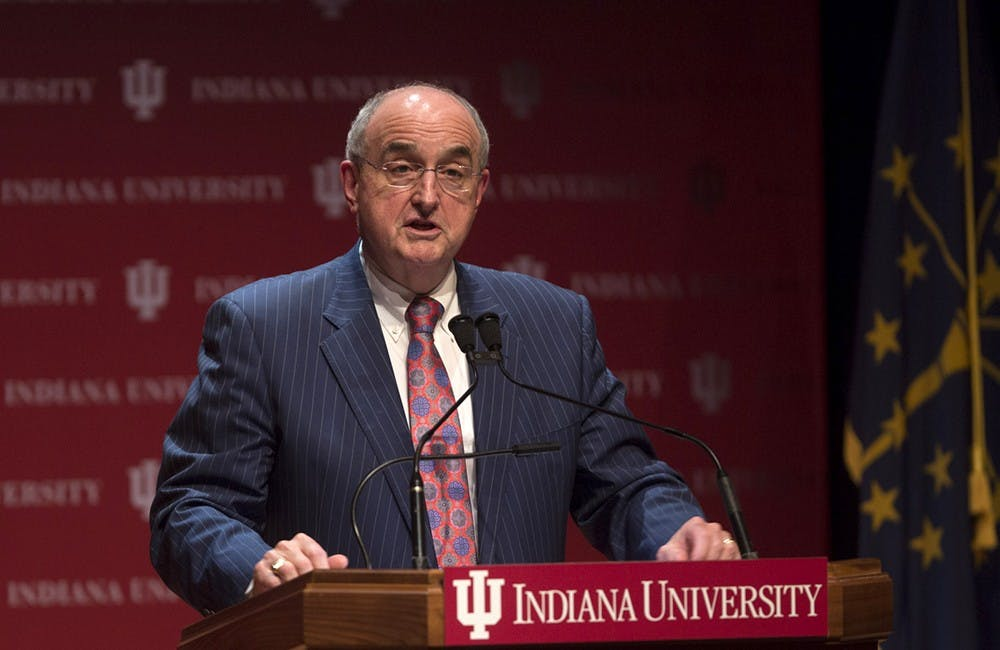 IU President Michael McRobbie delivers the annual State of the University address Tuesday in Hine Hall on the Indiana University-Purdue University Indianapolis campus.
