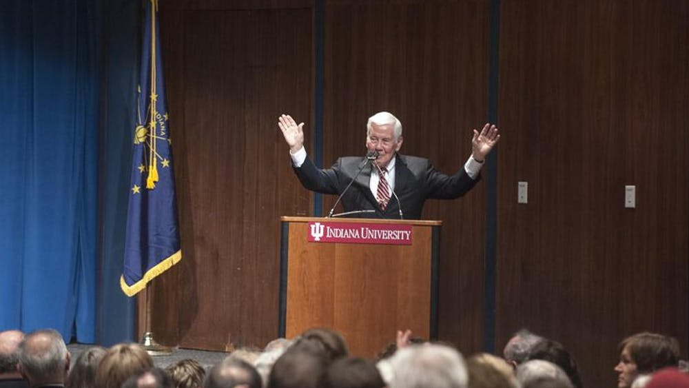 Former U.S. Sen. Richard Lugar speaks to a large audience in Whittenberger Auditorium on Feb. 18, 2013, at the Indiana Memorial Union.