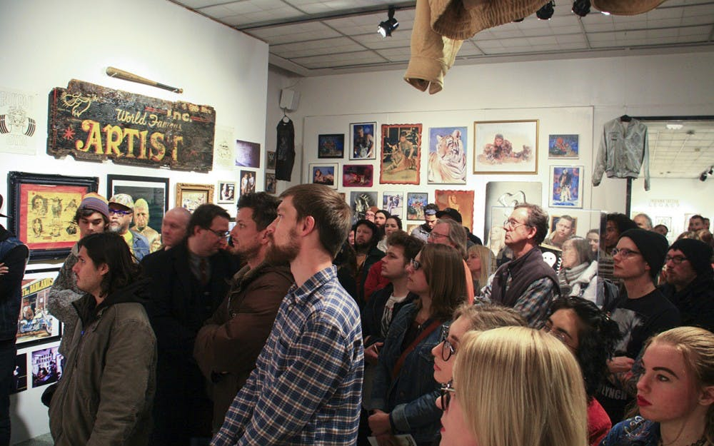 Indiana Tattoo: History and Legacy exhibition displays various examples of the work and lifestyles of historically influential tattoo artists from Indiana's past. The opening was held Friday evening at the Grunwald Gallery.