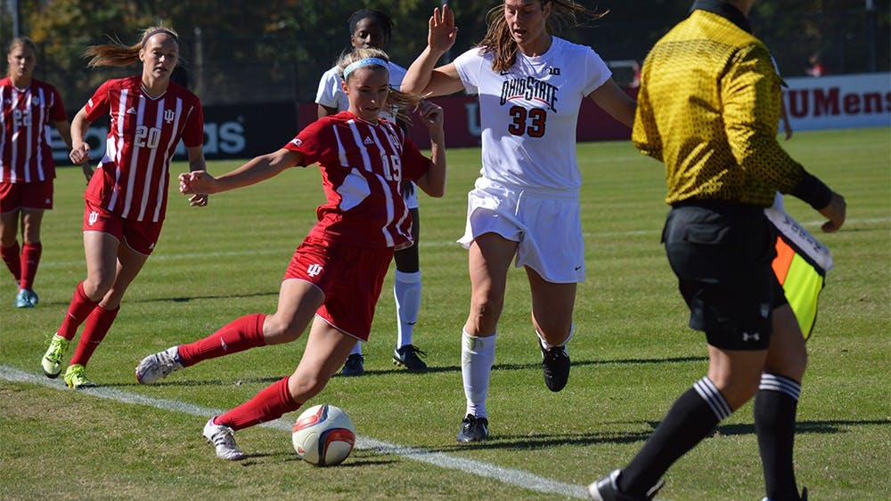 Junior midfielder Veronica Ellis dribbles out of bounds during the game against Ohio State Sunday afternoon at Bill Armstrong Stadium. The Hoosiers lost to the Buckeyes 1-2.