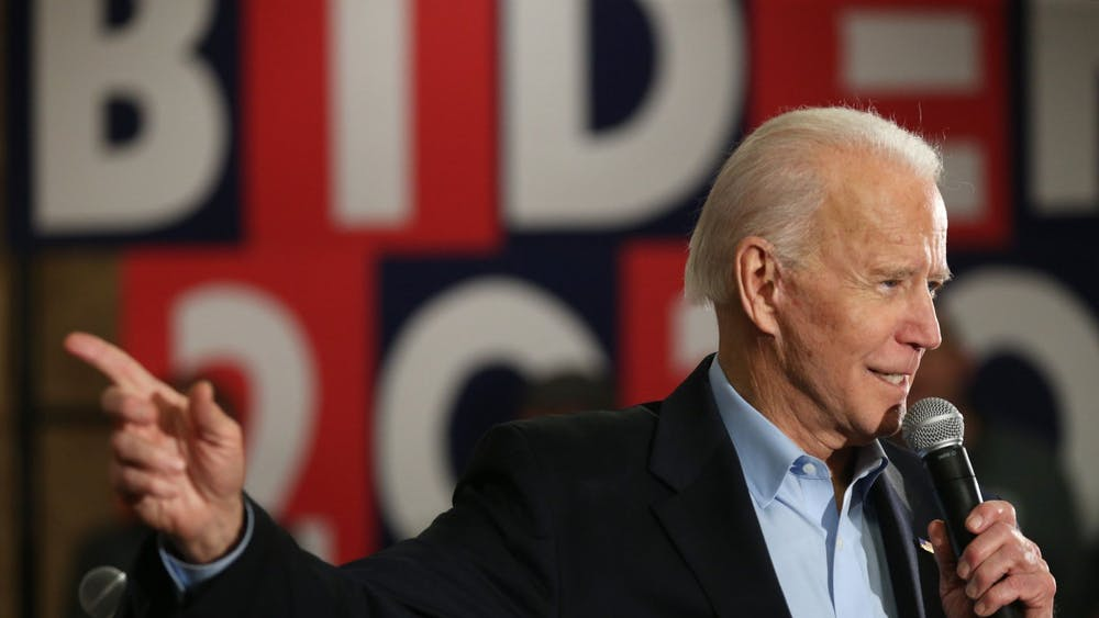 Presidential candidate and former Vice President Joe Biden points during a campaign event Jan. 31 in Fort Madison, Iowa.