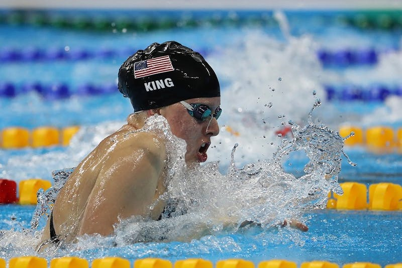 IU swimmer Lilly King swims to a gold medal in the women's 100 breaststroke Aug. 8, 2016, at the Olympic Aquatic Stadium in Brazil. King won Big Ten Female Athlete of the Year for the second-straight season on Thursday.