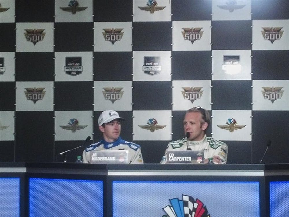 Ed Carpenter and JR Hildebrand talk about their qualifying runs on May 17 in a press conference at Indianapolis Motor Speedway.