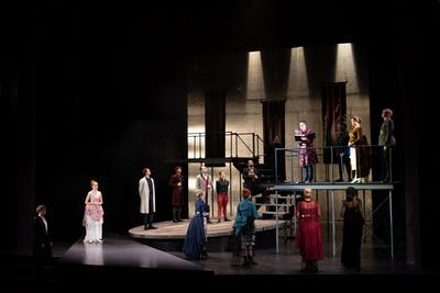 "The cast of ""Hamlet"" stands on stage Dec. 3, 2019, during the first act in the Ruth N. Halls Theatre. Director Jonathan Michaelsen cast more women than men in this production of ""Hamlet."""