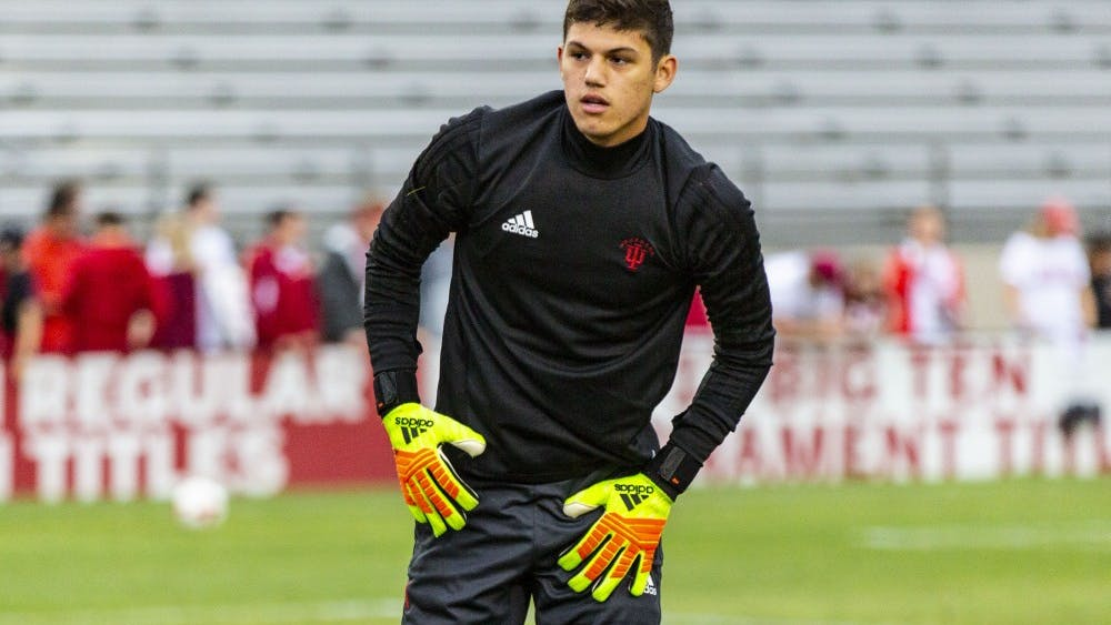 Sophomore Trey Muse warms up Sept. 7 before the start of IU's match against Virginia Commonwealth University at Bill Armstrong Stadium. Muse will head to the Seattle Sounders on a homegrown deal after two seasons as the Hoosiers' starting goalkeeper.