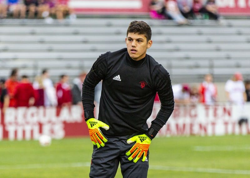 Sophomore Trey Muse warms up Sept. 7 before the start of IU's match against Virginia Commonwealth University at Bill Armstrong Stadium. Muse had four saves in IU's 3-1 win over Wisconsin on Sunday.