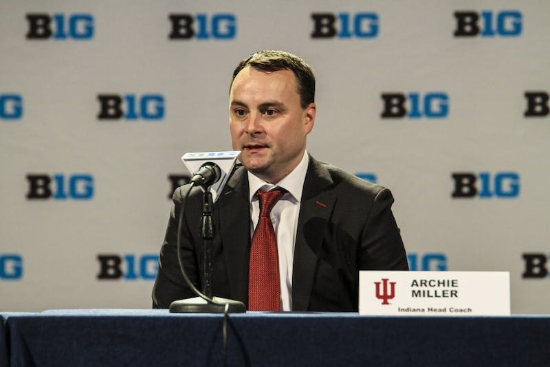 IU basketball coach Archie Miller speaks Oct. 11 at the Big Ten Media Day Conference in Chicago about needing upperclassmen leadership this season. IU's first game of the season will be against Chicago State on Nov. 6.