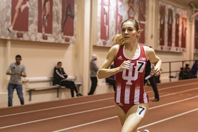 Sophomore distance runner Bailey Hertenstein runs in the 3,000-meter Feb. 14 in Gladstein Fieldhouse. IU will compete in the Big Ten Indoor Championships on Friday and Saturday in Geneva, Ohio.