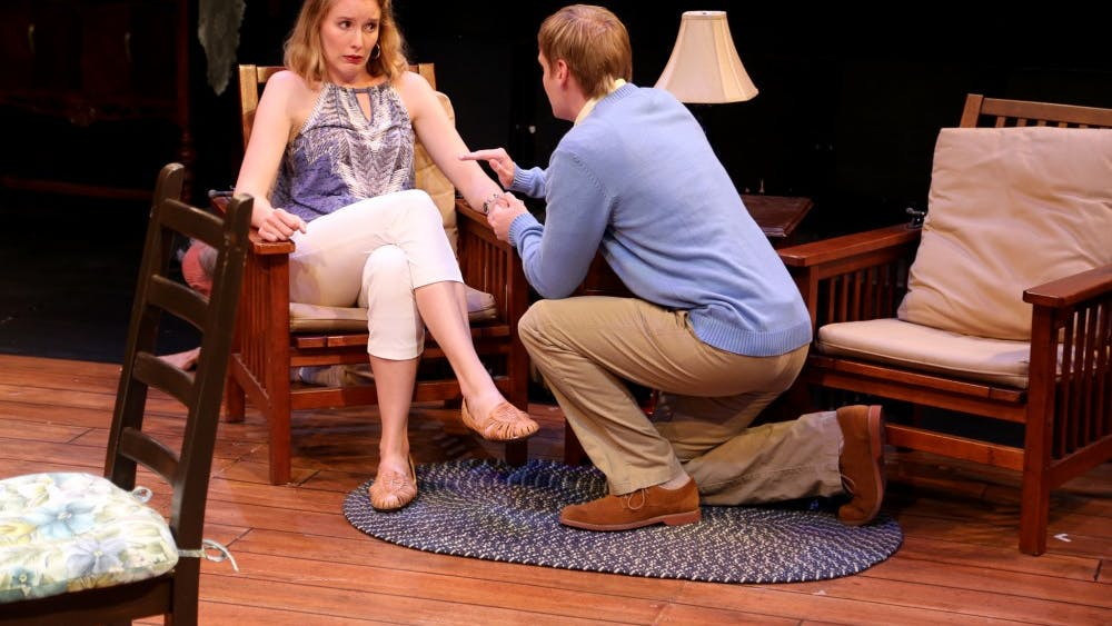 """Glynnis Kunkle-Ruiz and Michael Bayler, both second year M.F.A. actors, rehearse as characters Catherine Simms and David Lee in the 2018 IU Summer Theatre production of """"The Foreigner."""""""