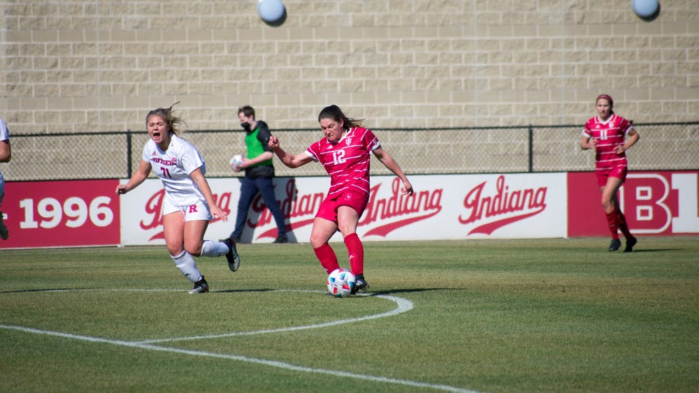 Senior defender Melanie Forbes kicks the ball Thursday at Bill Armstrong Stadium. Forbes scored the goal that led the Hoosiers to their 1-0 win over Rutgers.