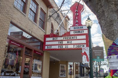 A sign for the Buskirk-Chumley Theater hangs Feb. 20 on Kirkwood Ave. Musician and IU professor Monika Herzig's Sheroes will perform at 8 p.m. March 7.