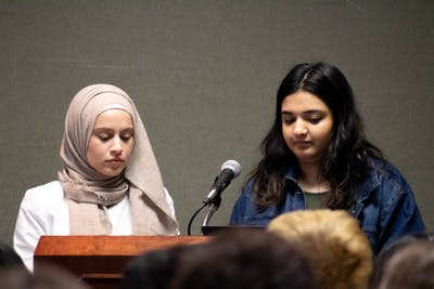 Hadeel Yousef and Laamia Hussain speak on behalf of the Muslim Student Association of IU on March 21 during a remembrance event for the shootings in Christchurch, New Zealand. Yousef and Hussain are president and vice president of the organization, respectively.