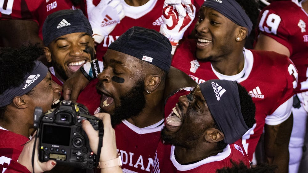 Indiana football players smile and laugh Oct. 24, 2020, in Memorial Stadium after beating Penn State in double overtime. Indiana will play Penn State at 7:30 p.m. Saturday.