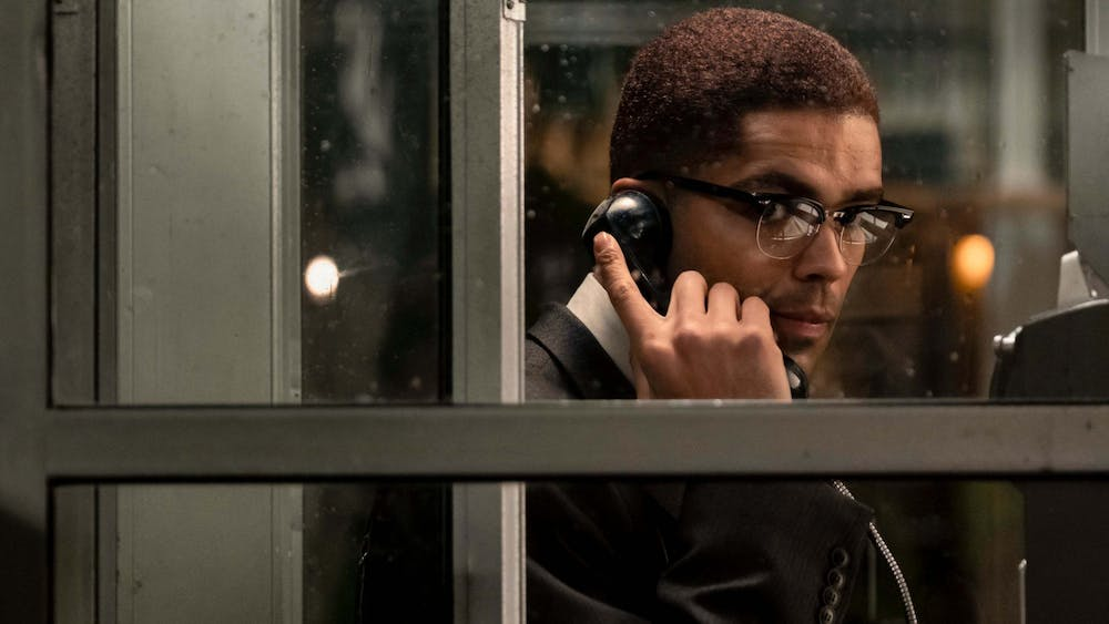 """Malcolm X, played by Kingsley Ben-Adir, performs in """"One Night in Miami."""""""