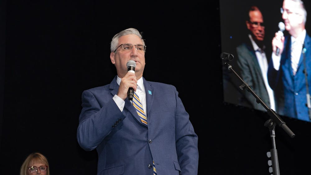 Indiana Gov. Eric Holcomb speaks at the 2018 State GOP Convention. Indiana State Police Superintendent Doug Carter said that law enforcement should not pull people over for violating the stay-at-home order during  Gov. Holcomb's press briefing.