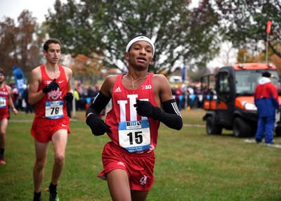 Then-freshman, now sophomore, Marcus Ellington, runs in the Big Ten Cross-Country Championships on Oct. 29 at the IU Cross-Country course. Ellington contributed to IU's second-place finish Friday at the Illini Open.